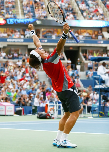 David Ferrer of Spain celebrates