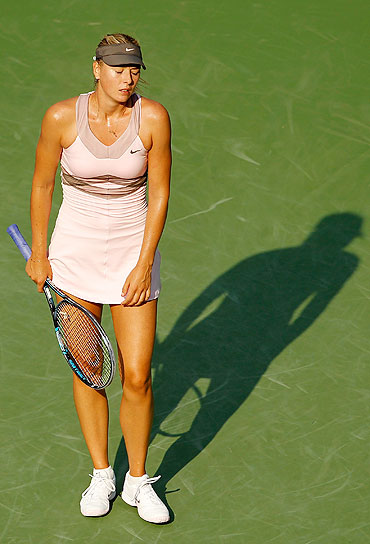 Maria Sharapova of Russia reacts during her women's singles semifinal match against Victoria Azarenka