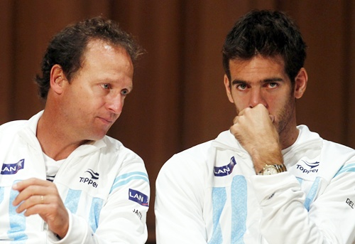 Argentina's Juan Martin Del Potro (right) gestures next to team captain Martin Jaite