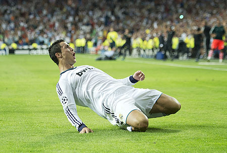 Real Madrid's Cristiano Ronaldo celebrates after scoring the winning goal against Manchester City on Wednesday