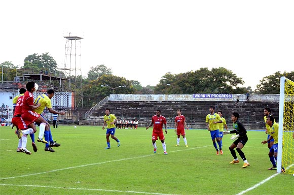 Action from the match between Mumbai FC and Shillong Lajong at Keenan Stadium