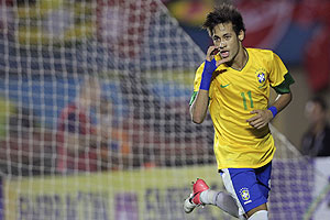 Brazil's Neymar celebrates after scoring against Argentina during their international friendly in Goiania on Wednesday