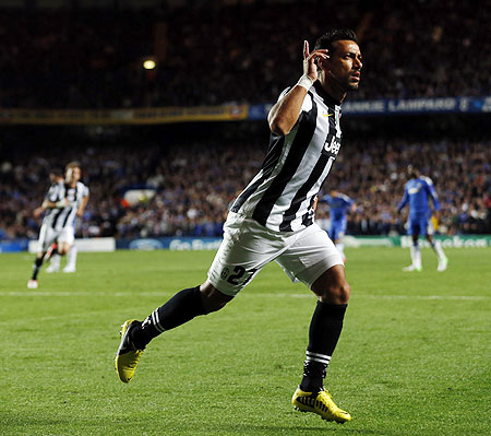 Juventus' Fabio Quagliarella celebrates after scoring against Chelsea
