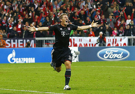 Bayern Munich's Bastian Schweinsteiger celebrates after scoring against Valencia