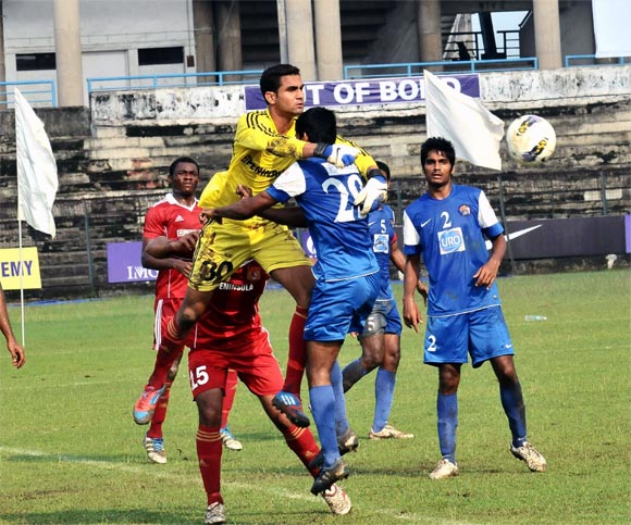 Action from the match bertween Pune FC and United Sikkim