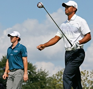 Tiger Woods (right) and Rory McIlroy
