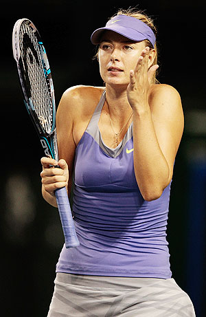 Maria Sharapova of Russia shows her frustration during her match against Heather Watson of Great Britain at the Pan Pacific Open on Tuesday