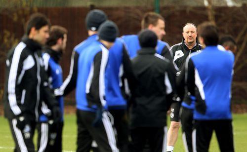 Rafael Benitez during a Chelsea training session