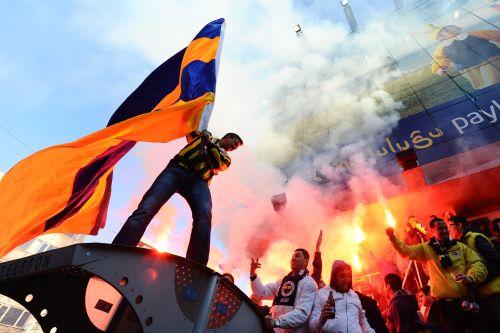 Fenerbahce SK supporters outside the Sukru Saracoglu Stadium