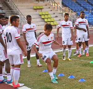 The Pune FC team in training