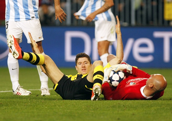 Borussia Dortmund's Robert Lewandowski reacts