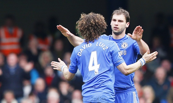 Branislav Ivanovic of Chelsea is congratulated by David Luiz