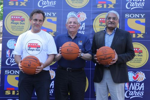 NBA Commissioner David Stern, MSM CEO Manjit Singh and Magic Bus CEO and founder Matthew Spacie