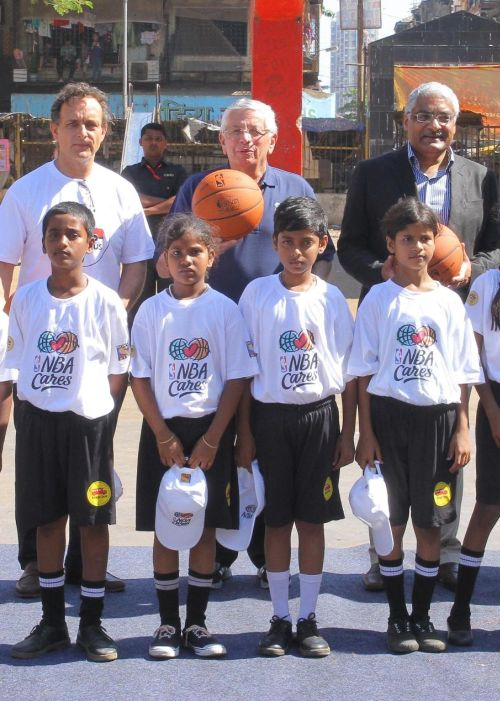 David Stern, Manjit Singh and Spacie with kids from Magic Bus