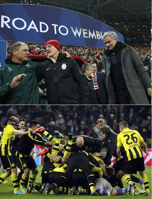 Real Madrid's coach Jose Mourinho (right) walks off and Borussia Dortmund players celebrate
