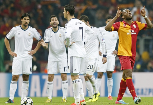 Galatasaray's Didier Drogba (right) celebrates after scoring a goal