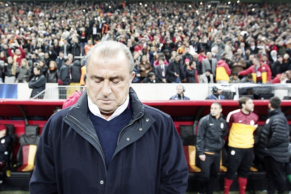 Galatasaray's coach Fatih Terim reacts