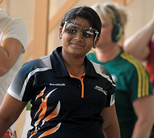 Rahi Sarnobat is all smiles after India clinch the 25m Pairs Pistol team gold at the Delhi 2010 Commonwealth Games