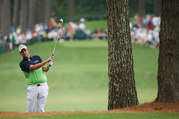 Marc Leishman of Australia hits the ball from the 17th hole during the first round of the 2013 Masters Tournament at Augusta National Golf Club on April 11, 2013 in Augusta, Georgia on Thursday