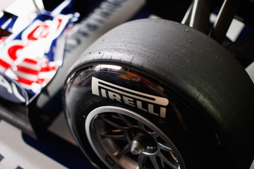 Pirelli tyres are seen on the car of Sebastian Vettel