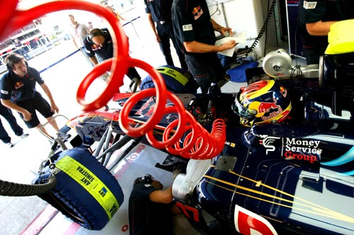 Jaime Alguersuari, Scuderia Toro Rosso in the garage during the Formula 1 Pirelli Tyre Testing
