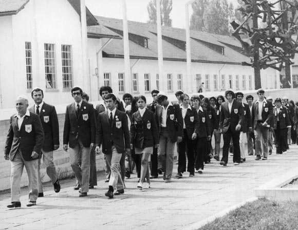 On the eve of the start of the Munich Olympics, the Israeli team visits the site of the concentration camp at Dachau in southern Germany, on August 25, 1972. Eleven members of the team were later killed in a terrorist attack at the Games on September 6, 1972.
