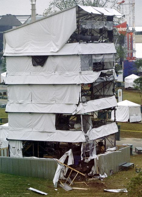 Debris surrounds the base of the sound tower, the scene of a bomb blast near the AT & T Pavillion in Centennial Olympic Park during the 1996 Centennial Olympic Games in Atlanta, Georgia, on July 27, 1996.