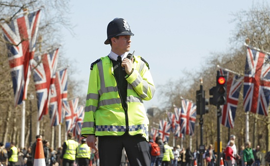 A police officer patrols