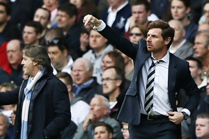 Tottenham Hotspur's manager Andre Villas-Boas (right) and his Manchester City counterpart Roberto Mancini