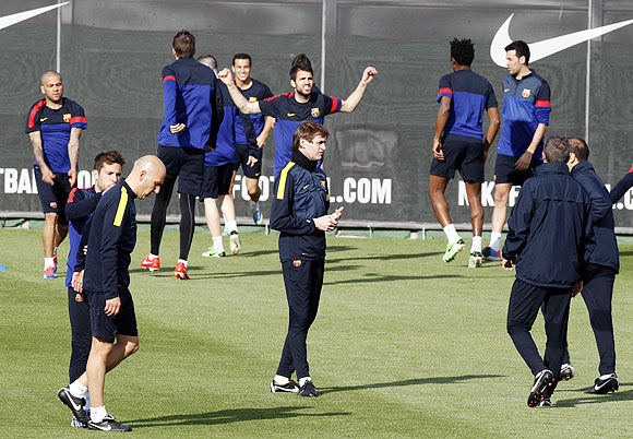Barcelona players at a training camp