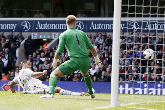 Tottenham Hotspur's Clint Dempsey (left) shoots and scores past Manchester City's goalkeeper Joe Hart