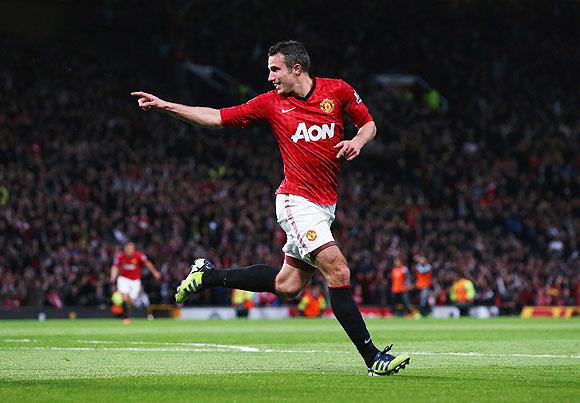 Robin van Persie celebrates a goal