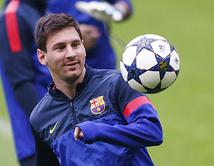 Barcelona's Lionel Messi attends a training session in Munich on Monday