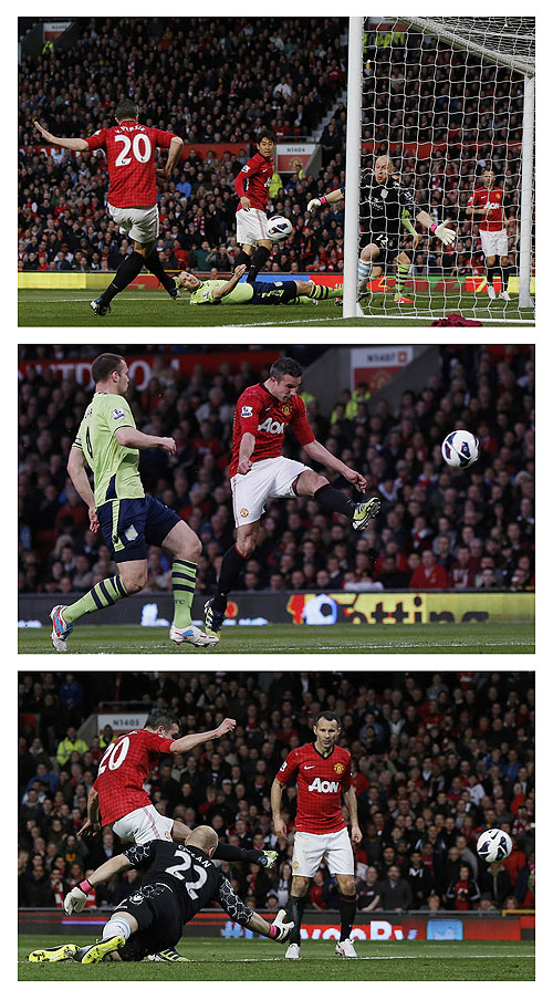 A combination photograph shows a first half hat-trick from Manchester United's Robin Van Persie against Aston Villa during their English Premier League match at Old Trafford on Monday