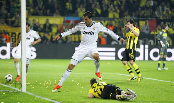 Real Madrid's Cristiano Ronaldo in action against Dortmund