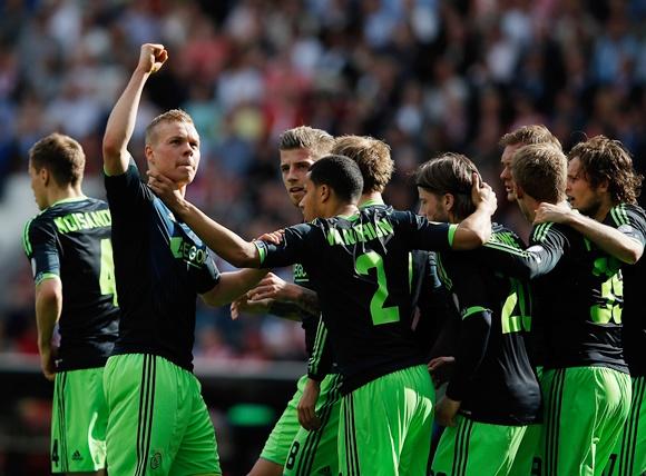 Kolbeinn Sigthorsson of Ajax celebrates