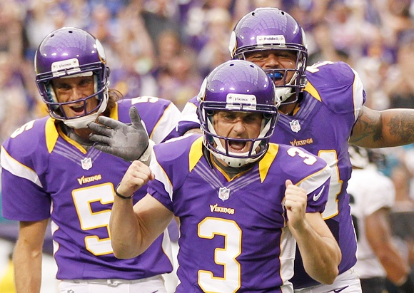 Blair Walsh of the Minnesota Vikings celebrates the game tying field goal with holder Chris Kluwe