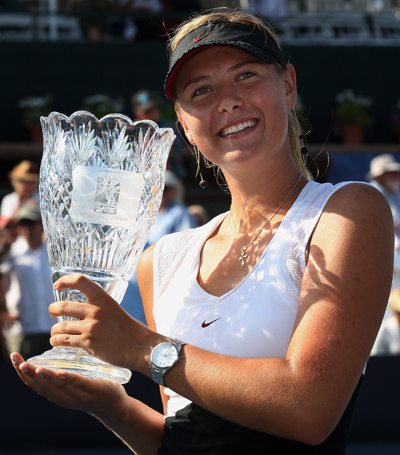 Maria Sharapova holds her trophy after defeating Patty Schnyder in the final of the Acura Classic at Carlsbad in 2007