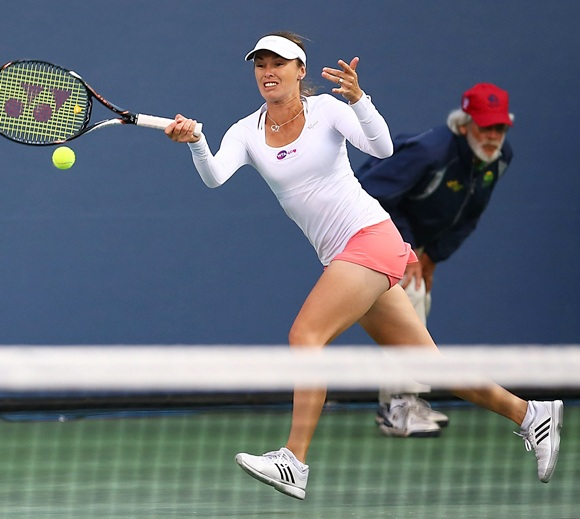 Martina Hingis of Switzerland plays a forehand
