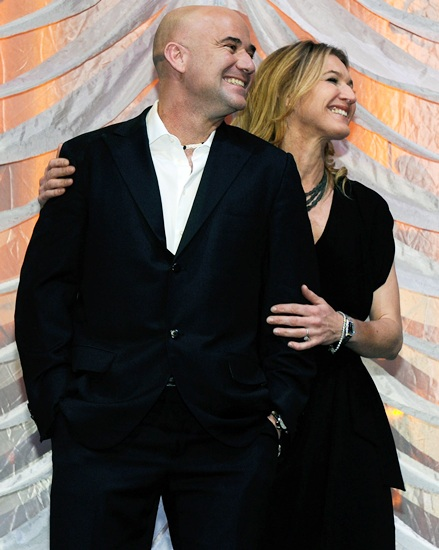 Former tennis players Andre Agassi and Steffi Graff
