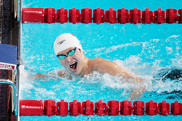 Yang Sun of China wins the Swimming Men's 800m Freestyle final at the 15th FINA World Championships at Palau Sant Jordi in Barcelona, on Wednesday