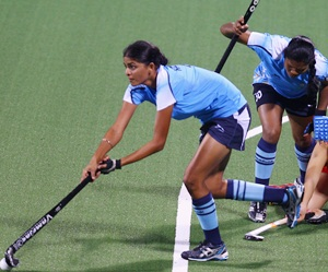The Indian girls in action during the match
