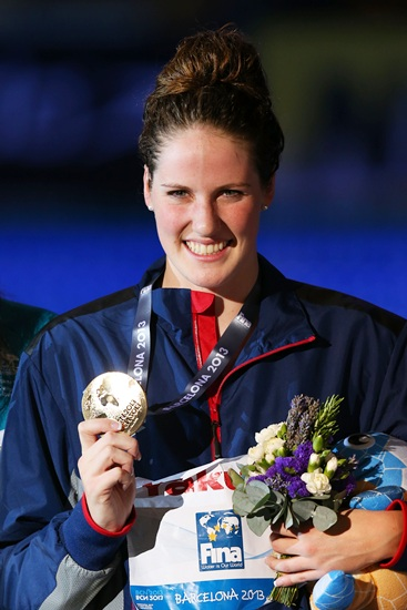Gold medal winner Missy Franklin of the USA celebrates on the podium