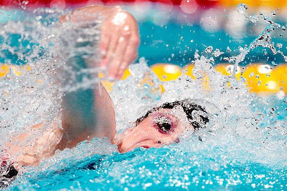 Missy Franklin of the USA competes during the women's Freestyle 4x200m final during the Swimming World Championships at the Palau Sant Jordi in Barcelona, Spain, on Thursday