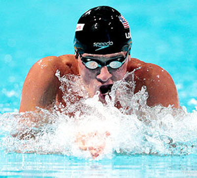 Ryan Lochte swims during the 200m individual medley event on Thursday