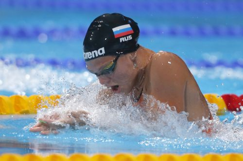 Yuliya Efimova of Russia competes to set a world record in the women's 50m breaststroke heats during the World Swimming Championships at the Sant Jordi arena in Barcelona