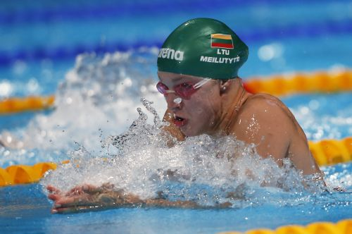 Lithuania's Ruta Meilutyte swims in the women's 50m breaststroke heats during the World Swimming Championships