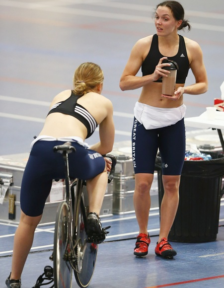 Victoria Pendleton (right) chats with Jess Varnish