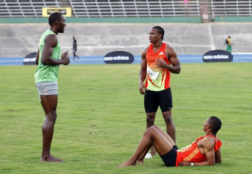 Usain Bolt, Yohan Blake and Warren Weir