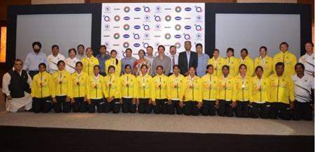 The Indian junior women's hockey team with Hockey India president Ms Mariamma Koshy, secretary-general Narinder Batra at a felicitation function.